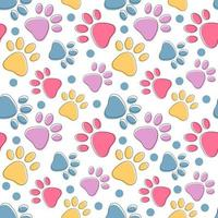 Cute seamless pattern with colorful pets cat or dog paws on white vector