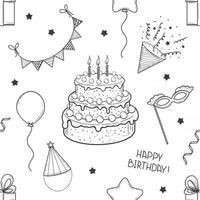 Hand Drawn Seamless Pattern from Festive Elements for Birthday vector