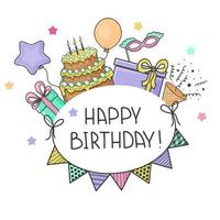 Happy Birthday Card With Festive Elements vector