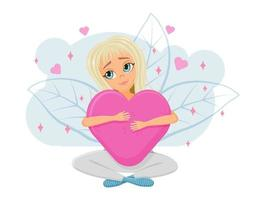 Dreamy Girl in Love with a Heart in Her Hands vector