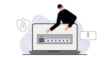 Hacker attack. Fraud with user data. Internet phishing, vector