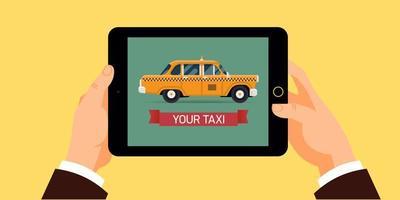contratar una aplicación móvil de taxi vector