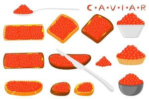 Illustration on theme big set various types fish caviar vector