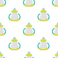 kit baby milk in clear bottle with rubber pacifier vector