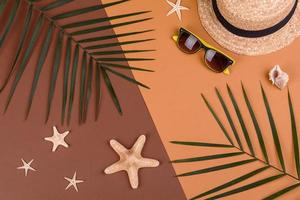 Beach accessories, glasses and hat with shells and sea stars on a colored background. Summer background photo