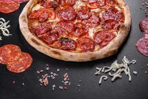 pizza de pepperoni con salsa de pizza, queso mozzarella y pepperoni foto