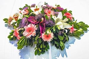 Close up bouquet of flowers photo