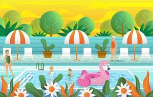 piscina con plantilla de fondo de colores vector