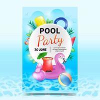 Plantilla colorida del fondo del cartel de la fiesta en la piscina vector
