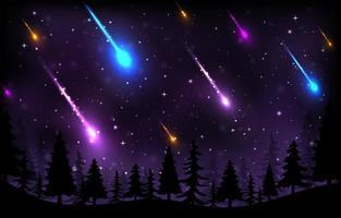 Meteor Shower Background Template vector