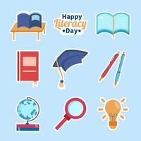 Happy Literacy Day Sticker Template Set vector