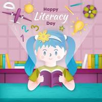 Happy Literacy Day Background Template vector