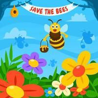 Honey Bee and Flower Garden vector