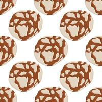 big set identical biscuit, kit colorful pastry cookie vector