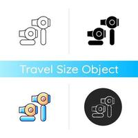 Travel size hair dryer icon vector