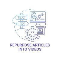 Repurpose articles into videos concept icon vector