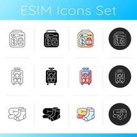 Airplane passenger travelling things icons set vector