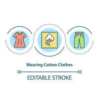 Wearing cotton clothes concept icon vector