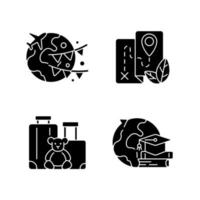Vacation black glyph icons set on white space vector