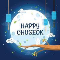 Happy Chuseok Cartoon Celebration vector
