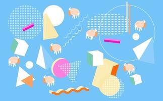 Geometric cow farm , Design background vector
