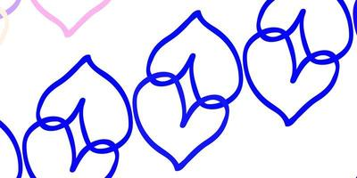 Light Pink, Blue vector background with hearts.