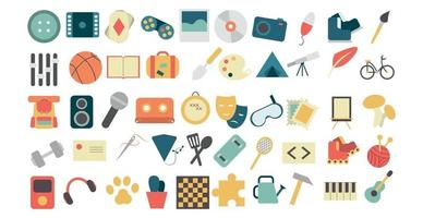 Various hobbies and professions icons collection - Vector