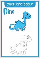 dino to learn to draw and color vector