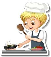 Sticker design with chef boy cooking food cartoon character vector