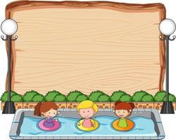 Empty wooden board with many kids in the pool isolated vector