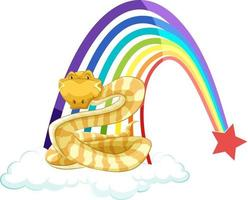 A snake cartoon on the cloud with rainbow on white background vector