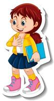 Girl in standing posing cartoon character isolated vector
