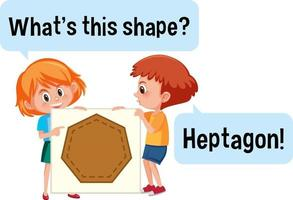 Kids holding heptagon shape banner with What's this shape font vector