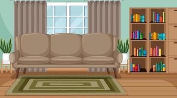 Living room interior scene with furniture and living room decoration vector