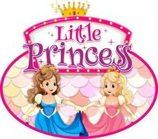 Princess cartoon character with Little Princess font typography vector