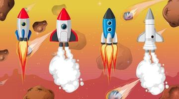 Set of different rocket and spaceship in space background vector