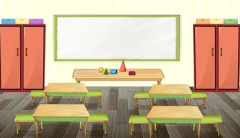 Classroom interior design with furniture and decoration vector