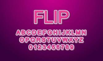 Editable text effect flip title style vector