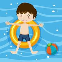Top view of a boy laying on swimming ring on pool background vector
