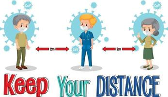 Keep your distance banner with cartoon character vector