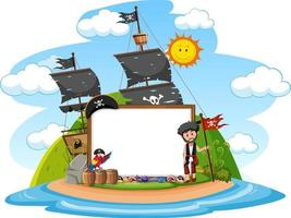 Pirate Island with blank banner template isolated vector
