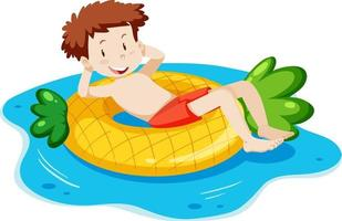 A young man laying on swimming ring isolated vector
