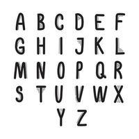 Hand drawn font style alphabet vector