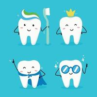 Tooth cartoon style character. Dental concept illustration vector