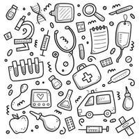 Set of hand drawn doodle medicine elements illustration. vector