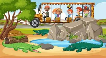 Safari scene with children tourists watching alligator group vector