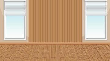 Empty room with window and wooden parquet floor vector