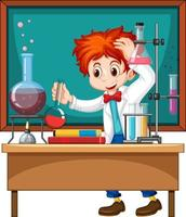 Researcher experiment in the laboratory vector