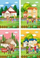 Different scenes of family standing in front of a house for sale vector