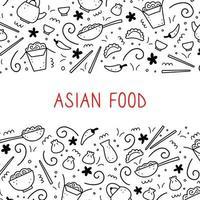 Hand drawn set of Asian food. Vector illustration.
